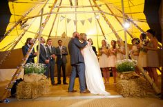 Yurt wedding ceremony Outside Wedding Ceremonies, Wedding Ceremony, Outdoor Wedding Inspiration, Woodland Wedding, The Great Outdoors, Tent, Kiss, Barn, Table Decorations