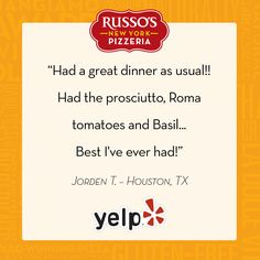 We're so happy you enjoyed the prosciutto, Jorden! #RussosReview #Yelp