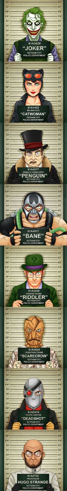 Gotham City Mugshots by Fabio Costalonga / Batman :: DC Comics :: villain :: mugshots Comic Book Characters, Comic Character, Comic Books Art, Hq Marvel, Marvel Dc Comics, Batgirl, Catwoman, Im Batman, Superman