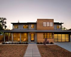 Love the wood and gray stucco combo. Very Modern. Modern Spaces Modern Prairie Style Home Design, Pictures, Remodel, Decor and Ideas - page 3 Home Design, Modern House Design, Design Ideas, Contemporary Design, Flat Roof House Designs, Contemporary Stairs, Contemporary Building, Contemporary Apartment, Contemporary Wallpaper