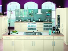 Purple and White kitchen in our showroom, Homeworld Design