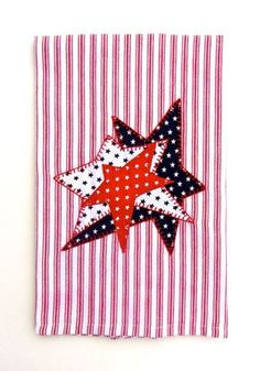 Stars and Stripes Patriotic Applique Tea Towel, Kitchen Towel, Dish Towel