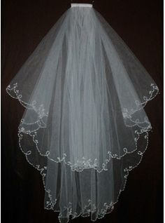 Wedding Veils - $19.99 - Two-tier Fingertip Bridal Veils With Beaded Edge  http://www.dressfirst.com/Two-Tier-Fingertip-Bridal-Veils-With-Beaded-Edge-006035481-g35481