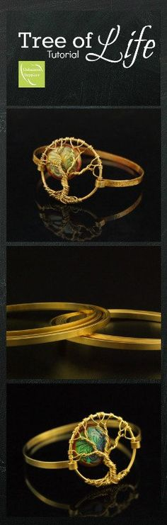 Tree of Life Bangle in Brass with Mood Bead  - DIY Jewelry #tutorial #wirewrapping