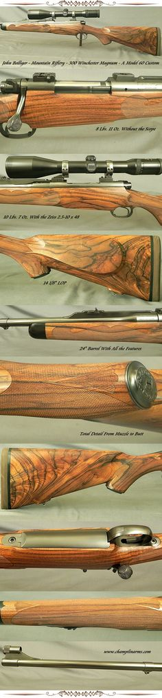 """#532335, John Bolliger, Mountain Riflery, Inc. 300 Winchester Magnum, A Full & Total Custom Signature Series Model on a Pre-64 Model 70 Action, 24"""" barrel, 1/4 rib that extends over the barrel cylinder to the receiver breech, Very nicely matted on top, 1 standing & 1 folding rear sights, Barrel band sling eye,"""