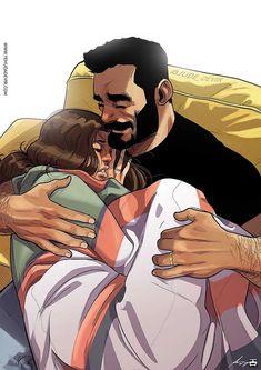 Как это мило)))). Художник из Израиля Иегуда Ади Девир иллюстрирует свою семейную жизнь. #художники #работы_мастеров