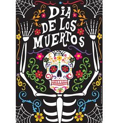 Day of the Dead Poster - - Decorate your walls on November the with our beautiful Day of the Dead skeleton poster. This poster would look good attached to any wall or door, and can complete your Day of the Dead decor. It's tradition Alive! Day Of Dead, Day Of The Dead Party, Sugar Skull Art, Park Art, Mexican Folk Art, Halloween Art, Samhain, Elementary Art, Art Projects