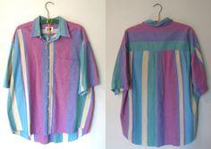 Plus Size Vintage Unisex Button Up Stripe Shirt Size XL/XXXL