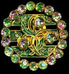 Antique Flashed Iris Glass Paste Jewel Button.