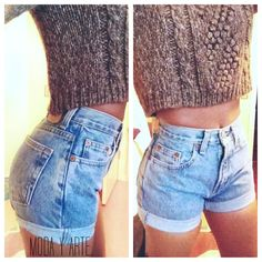 Original Blue High Waisted Shorts levis wrangler gap by modayarte . I love the pairing of crop sweater and high waisted shorts Looks Chic, Looks Style, Style Me, Style Blog, Daily Fashion, Look Fashion, Fashion Beauty, Pastel Outfit, Tokyo Street Fashion
