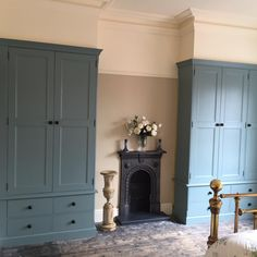 A photo from our lovely customer who is restoring his beautiful cottage. These custom built wardrobes are painted in and feature our traditional black ceramic cabinet knobs. Built In Wardrobe Ideas Alcove, Bedroom Built In Wardrobe, Painted Wardrobe, Wardrobe Wall, Alcove Cupboards, Bedroom Cupboards, Alcove Shelving, Oval Room Blue, Blue Rooms