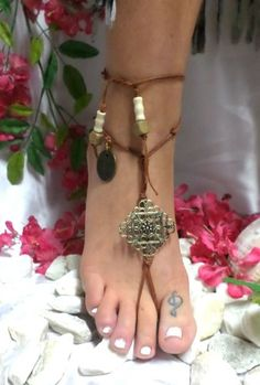 how to make barefoot sandals with leather | sandals beach foot jewelry boho bronze beaded barefoot sandals beach ...
