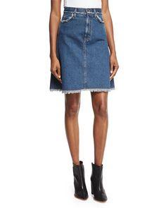 A-Line Denim Skirt W/Frayed Trim, Natural Blue Vintage