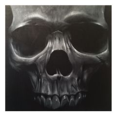 Skull 4'x4' Acrylic on wood panel - John Perry