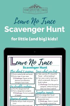 This free printable Leave No Trace Scavenger Hunt is the perfect activity for families or scout troops and include items that young kids will be able to find plus special challenges for older kids or adults to check off too! Be sure to bring this outdoor scavenger hunt along on your next hiking or camping trip.