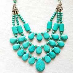 Turquoise necklace bohemian necklace multi strand necklace