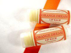 "NEW LIP BALM FLAVOR!...""Orange Dream"" Lip Balm:  http://www.etsy.com/listing/96262923/orange-sorbet-lip-balm-unsweetened     Our ""Orange Dream"" lip balm smells  and tastes like a creamy orange sorbet dessert.    To see our complete line of Handmade Soaps, please visit www.LippincottSoapCo.Etsy.com"