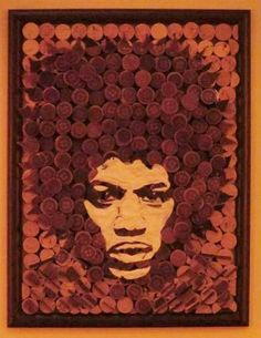 Jimi Hendrix portrait made from recycled wine corks and white glue