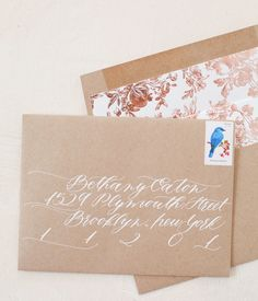 Alice's Hand Painted Rose Gold Foil Birth Announcements: http://ohsobeautifulpaper.com/2015/02/alices-hand-painted-rose-gold-foil-birth-announcements/ | Calligraphy by Mon Voir Calligraphy | Envelope Printing + Liners by @letterpressed  | Photo by Nole Garey for Oh So Beautiful Paper