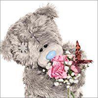 Me To You Tatty Teddy Geburtstagskarte 3D Holografie Birthday-Bär mit Schmetterling und Bouquet
