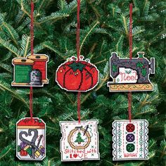 """Sewing Ornaments Counted Cross Stitch Kit-3""""X3"""" 14 Count Set Of 6"""