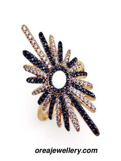 Rose Gold plated white and black cubic zirconia ring jewellery Rings And Wings, Rings Workout, Black And White Rings, Ring Sling, Cubic Zirconia Rings, Couple Rings, Jewelry Rings, Jewellery, Rose Gold Plates