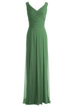 Edress Long Chiffon Evening Party Dress Bridesmaid Dress Prom Gown Off Shoulder (8, Sage Green)