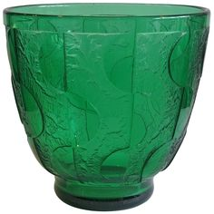 Daum Art Deco Green Geometric Decor Acid-Etched Glass Vase | From a unique collection of antique and modern vases and vessels at https://www.1stdibs.com/furniture/decorative-objects/vases-vessels/