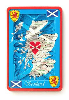 Lonely Heart No.201555 Scotland / altered playing card deck / paper sculpture by objectsofcuriosity on Etsy