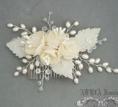 Flower Bridal Comb Gold Bridal Headpieces Silk by adriajewelry