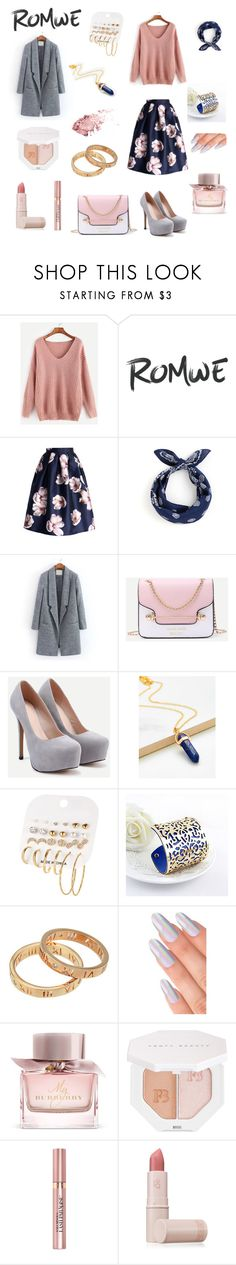"""Romwe pink sweater"" by andycollectionjewels on Polyvore featuring Burberry, Puma, L'Oréal Paris and Lipstick Queen"
