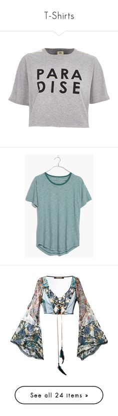 """""""T-Shirts"""" by quill-1 ❤ liked on Polyvore featuring tops, t-shirts, shirts, crop tops / bralets, grey, women, crew shirt, crop tops, crochet t shirt and print shirts"""