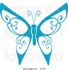 Royalty Free Vector of a Blue Butterfly Flying Logo