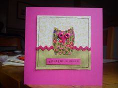 Handmade machine sewn owl birthday card made with Laura Ashley & Moda fabrics, ribbon & buttons