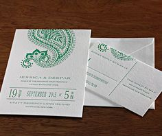 Regency, our newest modern #Indian #wedding invitation set with a playful paisley design and modern type | Invitations by Ajalon | http://invitationsbyajalon.com/