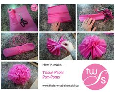 DIY Pom-Poms tissue paper balls tissue paper flowers party decorations tutorial