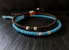 brown and blue waxed cord sterling beaded men bracelet / beach Beach Bracelets, Cord Bracelets, Bracelets For Men, Hammered Silver, Sterling Silver, Bracelet Knots, Adjustable Bracelet, Silver Beads, Silver Color