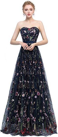 47717cf747 Risestaryiding Women s Formal Dress Flower Embroidery Prom Party Dress  Elegant Long Evening Gown (14