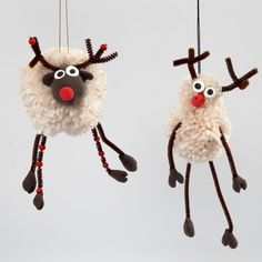 Pom-Pom Reindeer with Silk Clay and Pipe Cleaners with Beads - Creative ideas Christmas Crafts For Kids, Diy Christmas Ornaments, Xmas Crafts, Felt Christmas, Craft Stick Crafts, Spring Crafts, Crafts To Sell, Diy And Crafts, Christmas Decorations