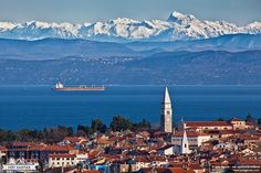 View from the sea to the mountains. Izola, Slovenia. Photo by Jost Gantar