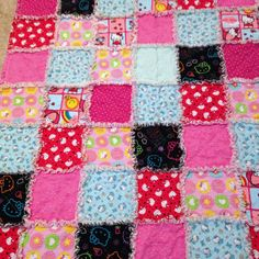 Hello Kitty Rag Quilt  Blanket  50 X 50 Cotton by nanaswoolies