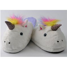 Unicorn Slippers ($20) ❤ liked on Polyvore featuring shoes and slippers