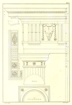 """An antique lithograph of a drawing of a classical cornice and capital from Palladio's """"Four Books of architecture""""."""