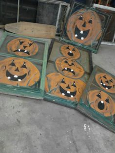 Pumpkin painted window screens