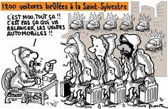 #Plantu AUTOMOBILES: Alors que les ventes de voitures sont en chute libre, ne nombre de voitures brûlées à la Saint-Sylvestre ne cesse de croître. Le dessin du Monde de ce mercredi.