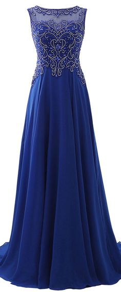 Fashionable Chiffon Bateau Neckline A-Line Prom Dresses With Beadings Elegant Prom Dresses, A Line Prom Dresses, Wedding Dresses Plus Size, Pretty Dresses, Long Dresses, Maid Of Honour Dresses, Mother Of Groom Dresses, Formal Gowns, Formal Wear