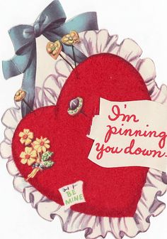 Vintage Valentine I'm Pinning You Down Be Mine (Vintage Valentines, Lace, Mechanical) at Whimzy Treasures