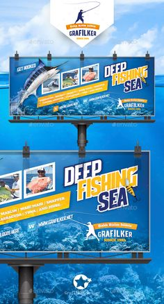 Fishing Billboard Templates by grafilker Fishing Billboard Templates Fully layeredINDDFully Dpi, CMYKIDML format openIndesign or laterCompletely editable Fish Banner, Web Banner, Corporate Business, Business Design, Flex Banner Design, Rollup Banner, Billboard Design, Graph Design, Advertising Design