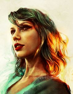When the sun came up, you were looking at me. Finished up this painting of taylorswift - she's got excellent jams.