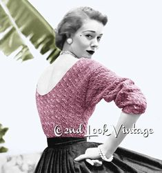 A bombshell sweater to knit from Vogue circa 1952 With a sexy low back neckline & bloused, bracelet length sleeves Tuck into a pencil or circle skirt for ultimate pinup girl style .. Make it up in a metallic for a special evening blouse! Knit this gorgeous jumper blouse in Worsted